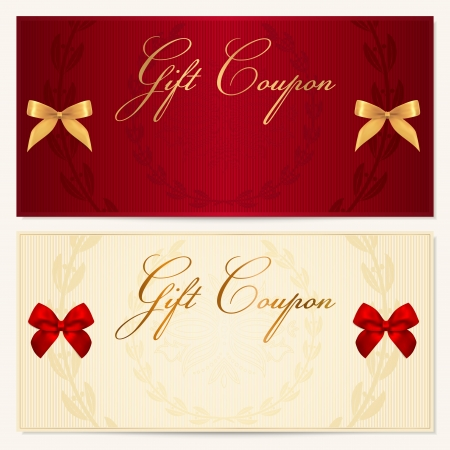 Voucher template with floral pattern, border and Gift red bow  ribbons   This background design usable for gift voucher, coupon, invitation, certificate, diploma, ticket etc  Corrugated background  Illustration in golden and white colors Vector
