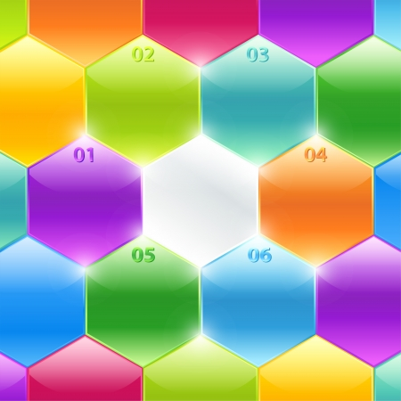 Conceptual colorful polyhedrons with info and numbers  Useful for banner design, business concept, website or web ad  Creative Illustration with numbers and place for text Stock Vector - 17696186