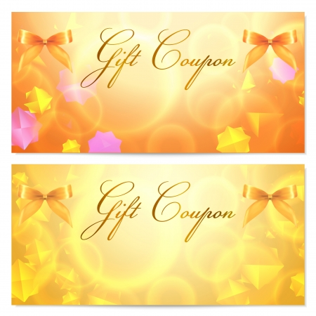 coupon: Gift coupon template with abstract stars pattern and bow  ribbons