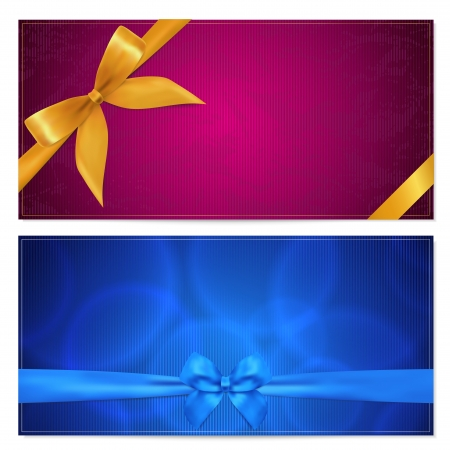 certificate: Gift card template with corrugated texture, border and Gift red bow  ribbons   This background design usable for gift voucher, coupon, invitation, certificate, diploma, ticket etc  Vector illustration in blue and maroon colors