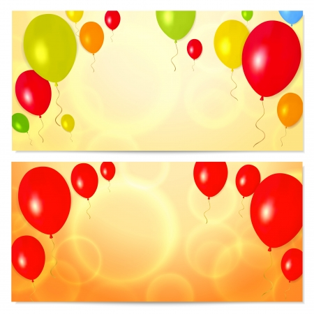Bright Gift coupon  voucher, invitation or card  template with colorful balloons background  Vector layout in golden  yellow , red and orange colors Vector