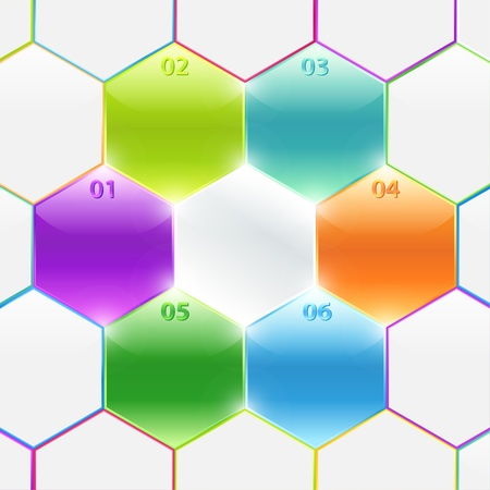Conceptual colorful polyhedrons with info and numbers  Useful for banner design, presentation, business concept, website or web ad  Creative Illustration with numbers and place for text Stock Vector - 17948444