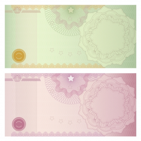 bank note: Voucher template with guilloche pattern  watermarks  and border