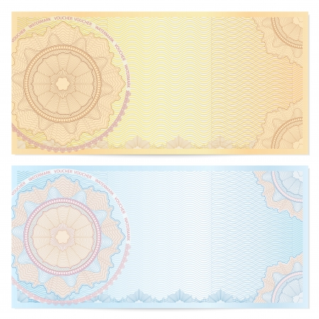 guilloche pattern: Voucher template with guilloche pattern  watermarks  and border