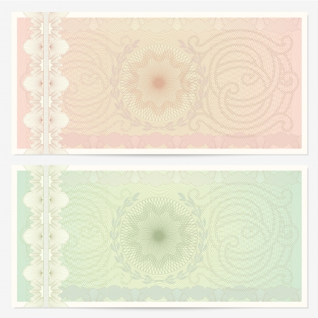 green coupon: Voucher template with guilloche pattern (watermarks) and border.