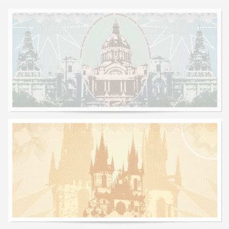 Gift Voucher  coupon template with guilloche pattern (watermarks), border and landmarks (Famous Places).  Vector