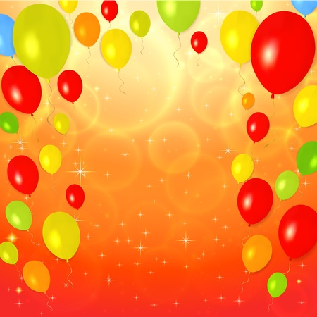 Bright Greeting Card (invitation) template with colorful balloons background. Vector layout in golden (yellow), red and orange colors Stock Vector - 18008236