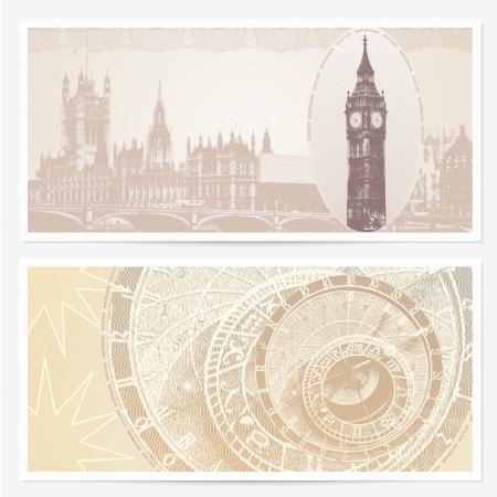 great britain: Conception de fond avec Big Ben et le Parlement (Londres, Grande-Bretagne) et Horloge astronomique (Prague, R�publique tch�que) utilisable pour carte-cadeau Illustration