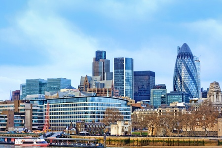 gherkin: Modern buildings in London (cityscape with the Gherkin). Financial district and office building in London, United Kingdom