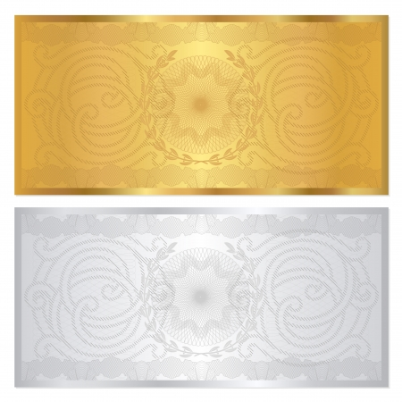 watermark:  Voucher template with guilloche pattern  watermarks  and border  This background design usable for gift voucher, coupon, banknote, certificate, diploma, currency, check etc  Vector illustration in golden and silver colors Illustration