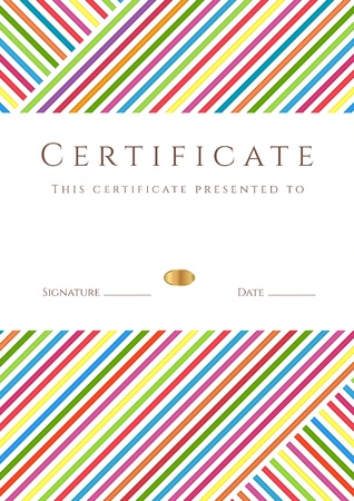 diploma: Vertical certificado de finalizaci�n (plantilla) con el patr�n de rayas de colores y el lugar para el texto. Este dise�o usable para el diploma, invitaci�n, tarjeta regalo, cup�n, oficial, ticket o diferentes premios. Vector