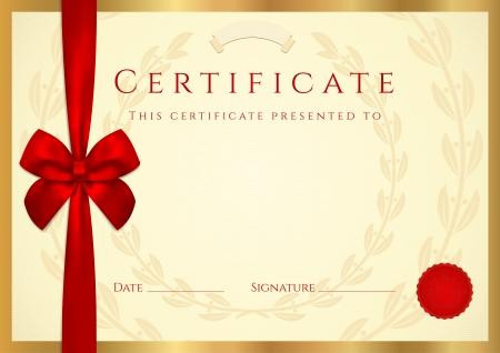 certificado: Certificado de finalizaci�n (plantilla) con sello de cera, la frontera y el arco rojo (cinta). Fondo de oro utilizable para el diploma dise�o, invitaci�n, tarjeta regalo, cup�n, oficial o de diferentes premios. Vector