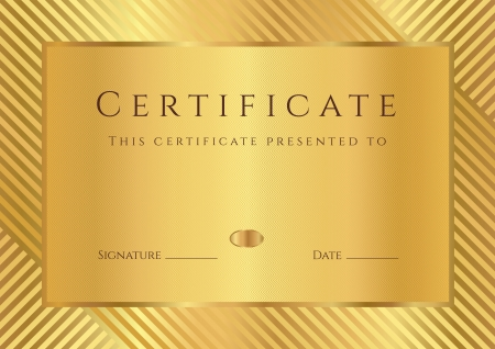 certificate frame: Certificate of completion (template) with stripy pattern and border. Golden background design usable for diploma, invitation, gift voucher, coupon, official or different awards.  Illustration