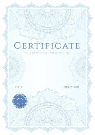 Vertical blue certificate of completion  template  with guilloche pattern  watermarks   This design usable for diploma, invitation, gift voucher, coupon, official or different awards  Vector Stock Vector - 18956602