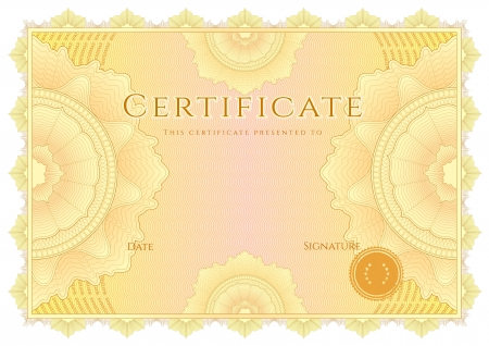 guilloche pattern: Horizontal yellow certificate of completion  template  with guilloche pattern  watermarks   This background design usable for diploma, invitation, gift voucher, coupon, official or different awards  Vector Illustration