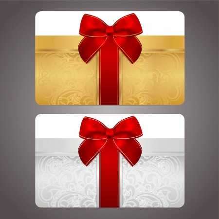 Golden and silver gift card  discount card  with gift box and red bow  ribbons   This background design usable for gift coupon, voucher, invitation, ticket etc  Vector Vector