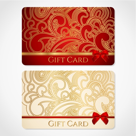 Red and gold gift card  discount card  with floral pattern and red bow  ribbons   This background design usable for gift coupon, voucher, invitation, ticket etc  Vector Vector