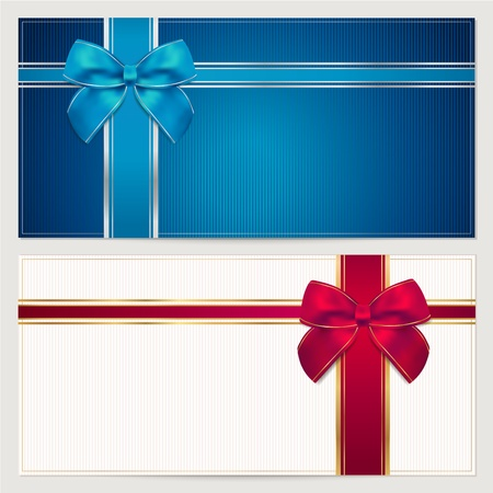gift background: Gift card template with corrugated texture, border and blue and red bow  ribbons   This background design usable for gift voucher, coupon, invitation, certificate, diploma, ticket etc  illustration in blue and maroon colors