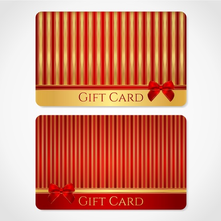 brindled: Red and gold gift card  discount card  with stripy pattern and red bow  ribbons   This background design usable for gift coupon, voucher, invitation, ticket etc   Illustration