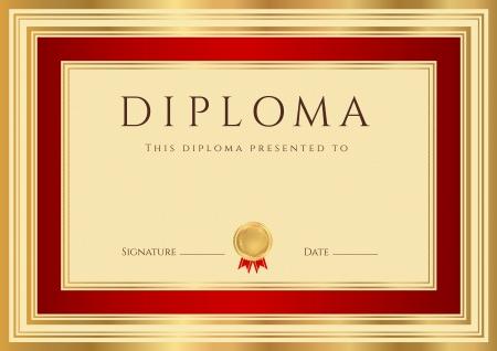 deed: Diploma Horizontal o una plantilla de certificados con marcas de agua labrado de oro y borde rojo Esta utilizables dise�o de fondo para la invitaci�n, vales de regalo, cupones, oficiales o premios diferentes Vectores