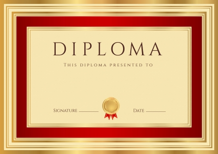 diplomas: Horizontal Diploma or Certificate  template  with guilloche pattern  watermarks , gold and red border  This background design usable for invitation, gift voucher, coupon, official or different awards