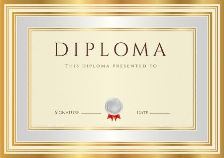 premi: Diploma orizzontale o Modello di certificato con filigrane arabescato, argento e bordo oro Questo disegno di sfondo utilizzabili per l'invito, voucher regalo, coupon, ufficiali o diversi premi