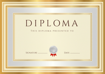 awards: Horizontal Diploma or Certificate  template  with guilloche pattern  watermarks , silver and gold border  This background design usable for invitation, gift voucher, coupon, official or different awards