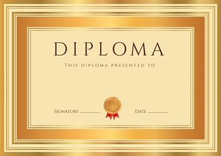 diploma: Diploma Horizontal o plantilla de certificados con marcas de agua de garant�a de bronce, y la frontera del oro Este fondo utilizables dise�o para la invitaci�n, vales de regalo, cup�n, oficiales o de diferentes premios