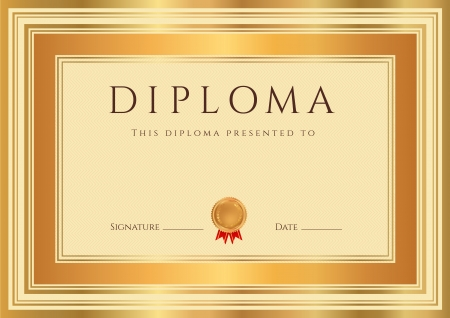 diploma border: Horizontal Diploma or Certificate  template  with guilloche pattern  watermarks , bronze and gold border  This background design usable for invitation, gift voucher, coupon, official or different awards   Illustration