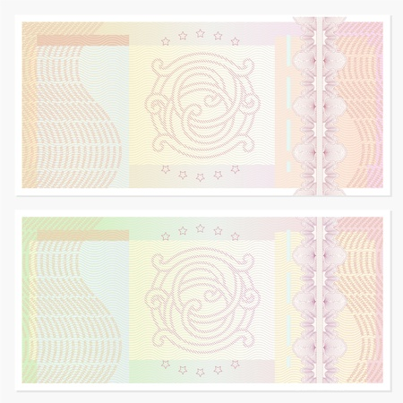guilloche pattern: Voucher template with guilloche pattern  watermarks  and border  This background design usable for gift voucher, coupon, banknote, certificate, diploma, check, currency etc  illustration in green and beige colors