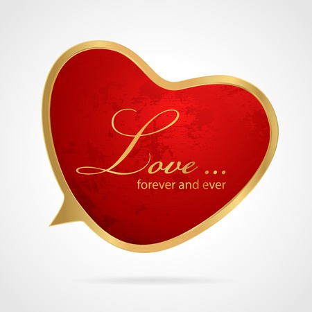Red speech bubble in golden frame  Heart shape with grunge texture on background  Useful for websites, blogs, web ad, gift cards etc  illustration of love symbol for holidays  St  Valentin day, Mother s day, wedding day, anniversary  Stock Vector - 18980872
