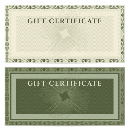 green coupon: Voucher template with guilloche pattern  watermarks  and border