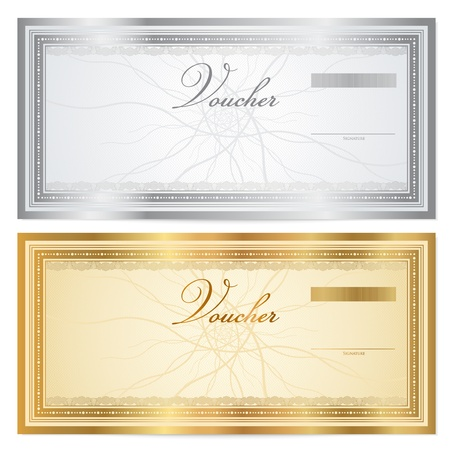 coupon template: Voucher template with guilloche pattern  watermarks  and border  This background usable for gift certificate voucher, coupon, banknote, diploma, money design, currency, check etc  Vector illustration in gold and silver colors