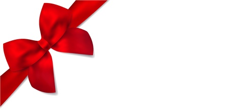blank gift tag: Gift certificate with isolated Gift red bow  ribbons   This design usable for gift voucher, coupon, invitation, certificate, greeting card, anniversary card, Christmas card for any celebrations  birthday, mothers day etc    Vector on white background Illustration