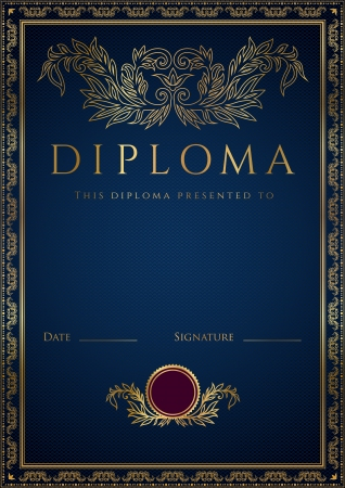 formal blue: Vertical dark blue diploma of completion  template  with guilloche pattern  watermarks  and golden floral border  Usable for certificate, invitation, gift voucher, coupon, official or different awards  Vector illustration
