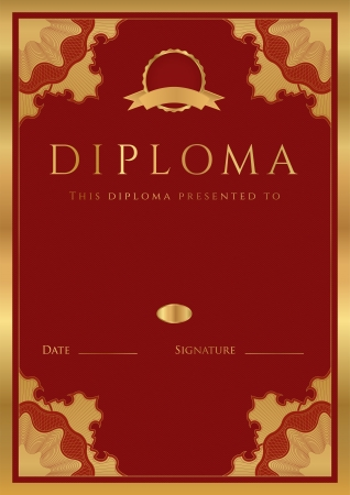 vinous: Vertical dark red  maroon, vinous  diploma of completion  template  with guilloche pattern  watermarks  and golden floral border