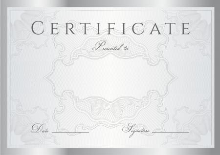 diploma: Certificado de plata Horizontal de finalizaci�n (plantilla) con l�neas entrecruzadas (marcas de agua) y la frontera. Vectores
