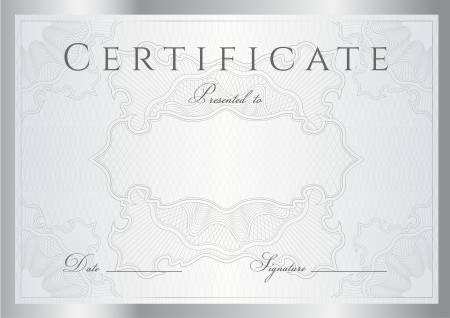 certificate design: Horizontal silver certificate of completion (template) with guilloche pattern (watermarks) and border.