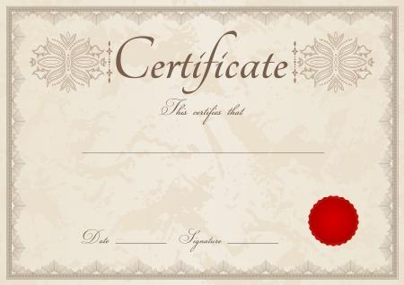 sceau cire rouge: Certificat beige horizontale du mod�le d'ach�vement avec filigrane guilloch� de motifs, la fronti�re et cachet de cire rouge Cette utilisables de conception de fond de dipl�me, d'invitation, les ch�ques cadeaux, coupons, officiels ou autre prix vectorielle en couleur de cru Illustration