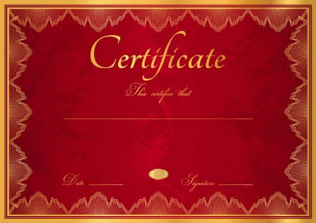 vinous: Horizontal dark red  maroon, vinous  diploma of completion  template  with guilloche pattern  watermarks  and golden floral border  This background design usable for certificate, invitation, gift voucher, coupon, official or different awards  Vector