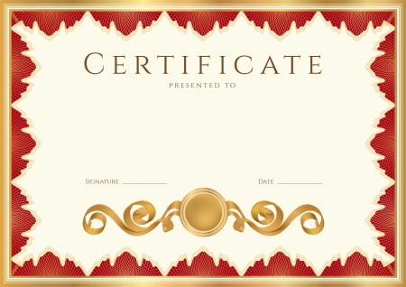 Horizontal certificate of completion  template  with guilloche pattern  watermarks  and golden, red  maroon or vinous  floral border  This background design usable for diploma, invitation, gift voucher, coupon, official or different awards  Vector Vector