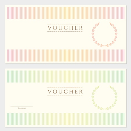 Voucher template with colorful stripy pattern and border  This background usable for gift voucher, coupon, banknote, certificate, diploma, currency, check, money design etc  Vector in vintage color Illustration
