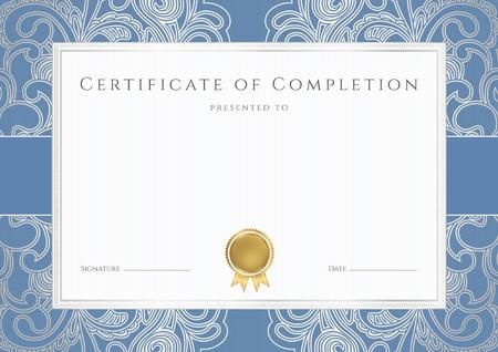 completion: Horizontal certificado de finalizaci�n de plantilla con filigranas patr�n floral, frontera azul y oro medalla insignia Este fondo puede utilizar el dise�o para el diploma, invitaci�n, vales de regalo, cup�n, oficiales o de diferentes premios Vectores