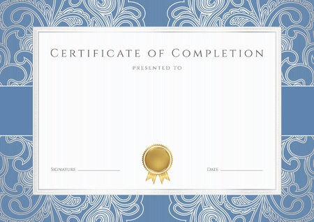 Horizontal certificate of completion  template  with floral pattern  watermarks , blue border and gold medal  insignia   This background design usable for diploma, invitation, gift voucher, coupon, official or different awards Vector