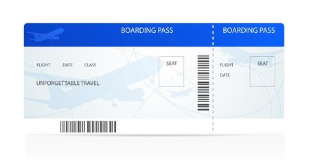 oorkonde: Blauw boarding pass (ticket) met vliegtuigen (vliegtuig of vliegtuig) silhouet op de achtergrond. Reizen per Aerial Transport. Geniet van uw vakantie. Geïsoleerde illustratie op witte achtergrond Stock Illustratie