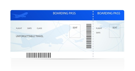 boarding card: Blue boarding pass (ticket) with aircraft (airplane or plane) silhouette on background. Travel by Aerial Transport. Enjoy your vacation. Isolated illustration on white background