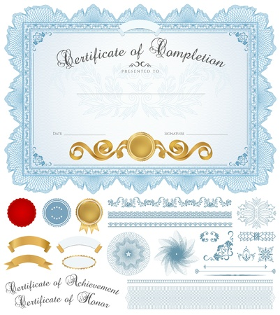 diplomas: Horizontal blue certificate of completion (template) with guilloche pattern (watermarks), borders, medal (insignia), and design elements. Background design usable for diploma, invitation, gift voucher, official or different awards.