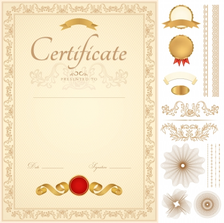 Vertical yellow certificate of completion (template) with guilloche pattern (watermarks), borders, medal (insignia), and design elements. Background design usable for diploma, invitation, gift voucher, official or different awards.