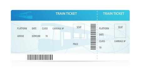 Billet de train tamplate (aménagement) avec la silhouette de train sur le fond. Voyage par transport ferroviaire. Profitez de vos vacances. Illustration isolé sur fond blanc