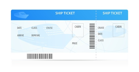 Ship ticket template (layout) with silhouette. Travel by Cruise liner (Transport). Enjoy your vacation. Isolated illustration on white background Vector